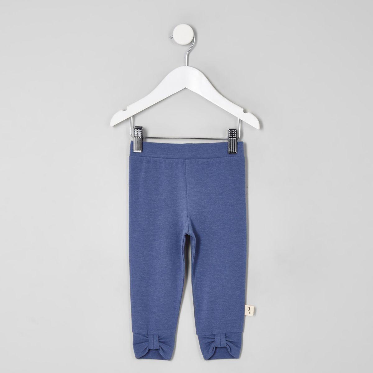 Mini girls navy bow front leggings