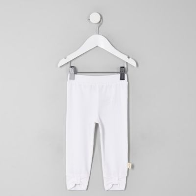 Mini Girls White Bow Front Leggings by River Island