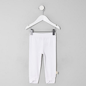 Mini girls white bow front leggings
