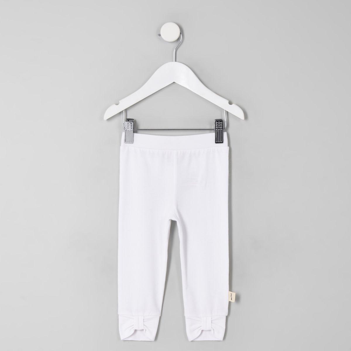 Mini girls white bow front leggings