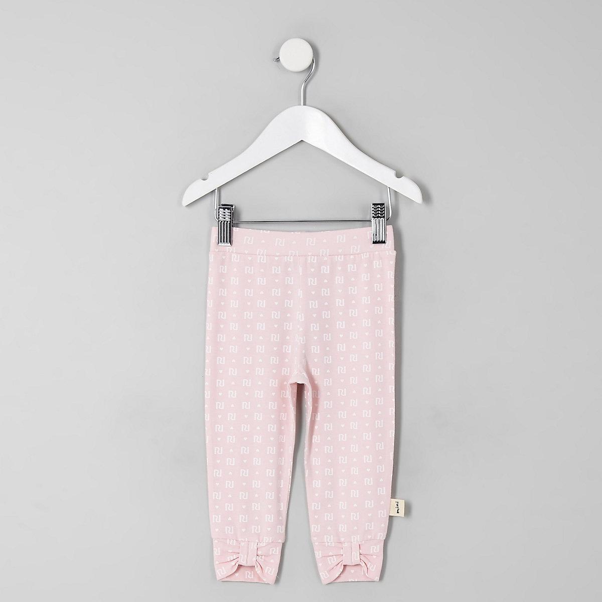 Mini girls pink RI print bow hem leggings