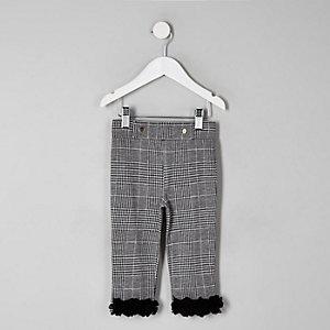 Mini girls grey check floral hem leggings