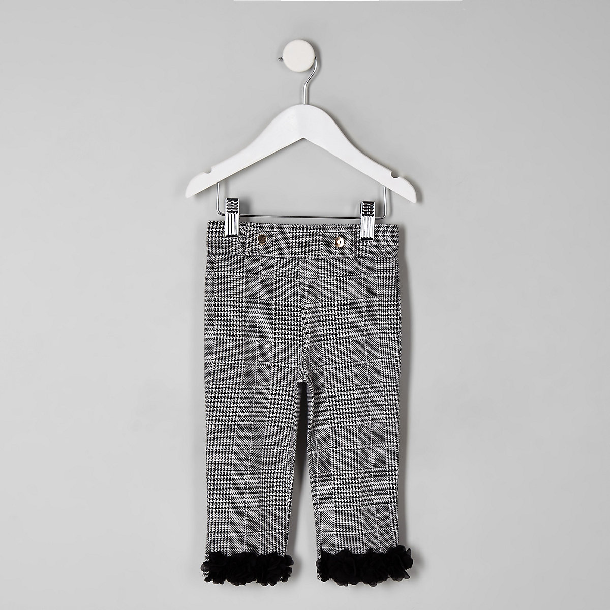 Mini girls grey check floral hem leggings