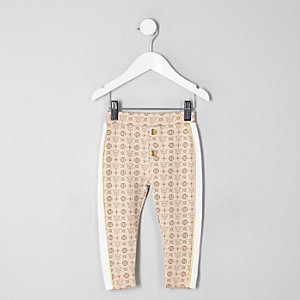 Mini girls cream RI tape leggings