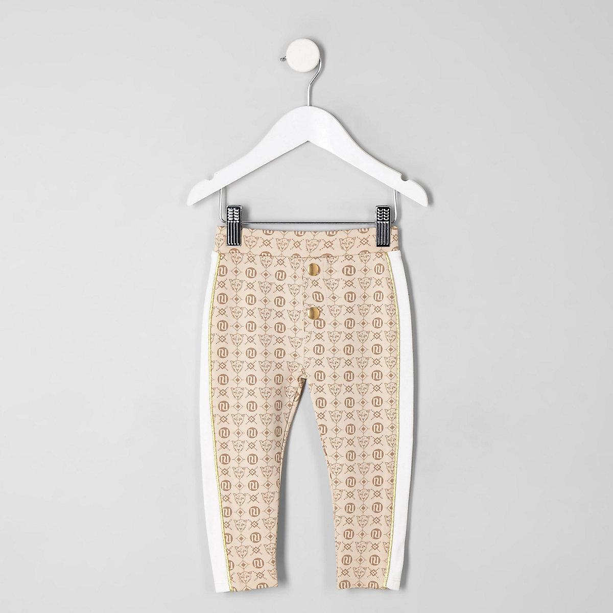 Mini girls cream RI tape leggings