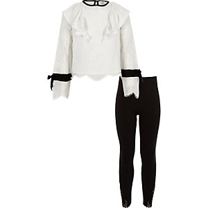 Girls white lace frill top and leggings set