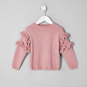Pull en maille chenille rose mini fille