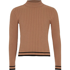 Girls beige ribbed tipped turtle neck sweater