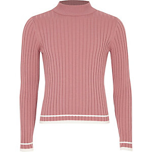 Girls pink ribbed tipped turtle neck jumper