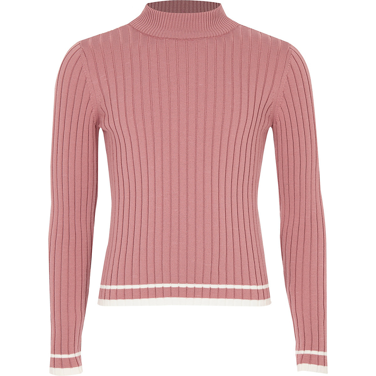 Girls pink ribbed tipped turtle neck sweater