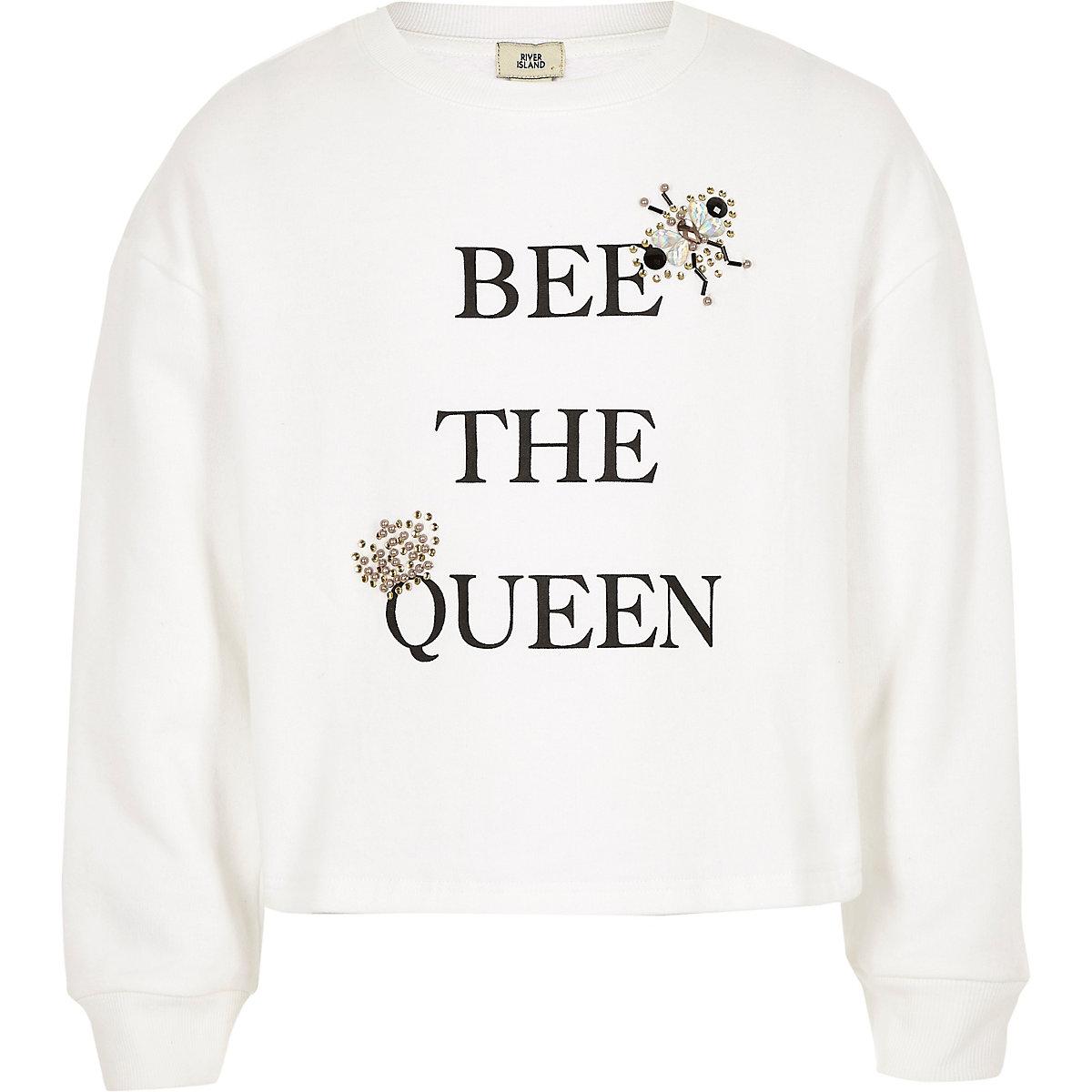 Girls white 'Bee the queen' sweatshirt