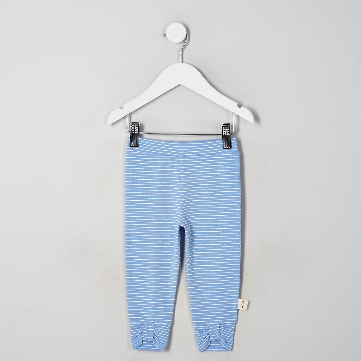 Mini girls blue stripe bow leggings