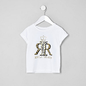 Mini girls white RI leopard print top