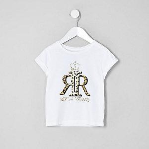 Mini girls white RI leopard print T-shirt