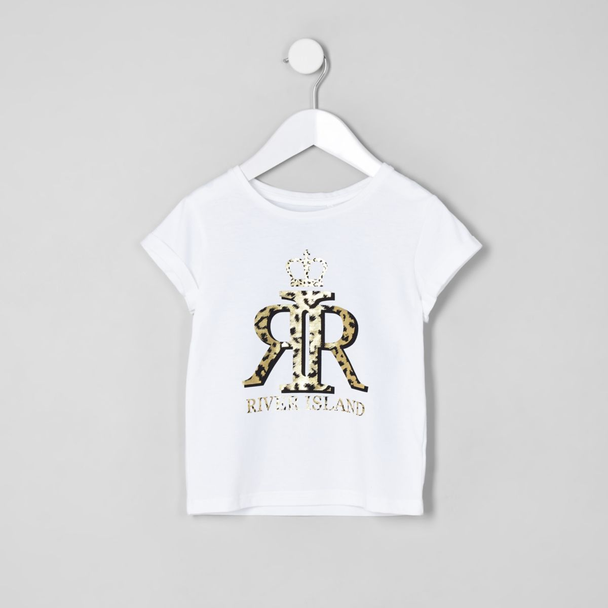 Mini girls white RI leopard print top