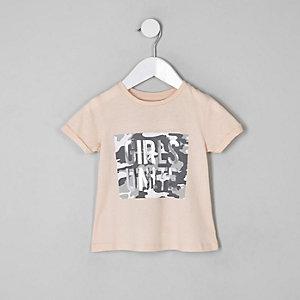 T-shirt rose à imprimé camouflage sur le devant mini fille