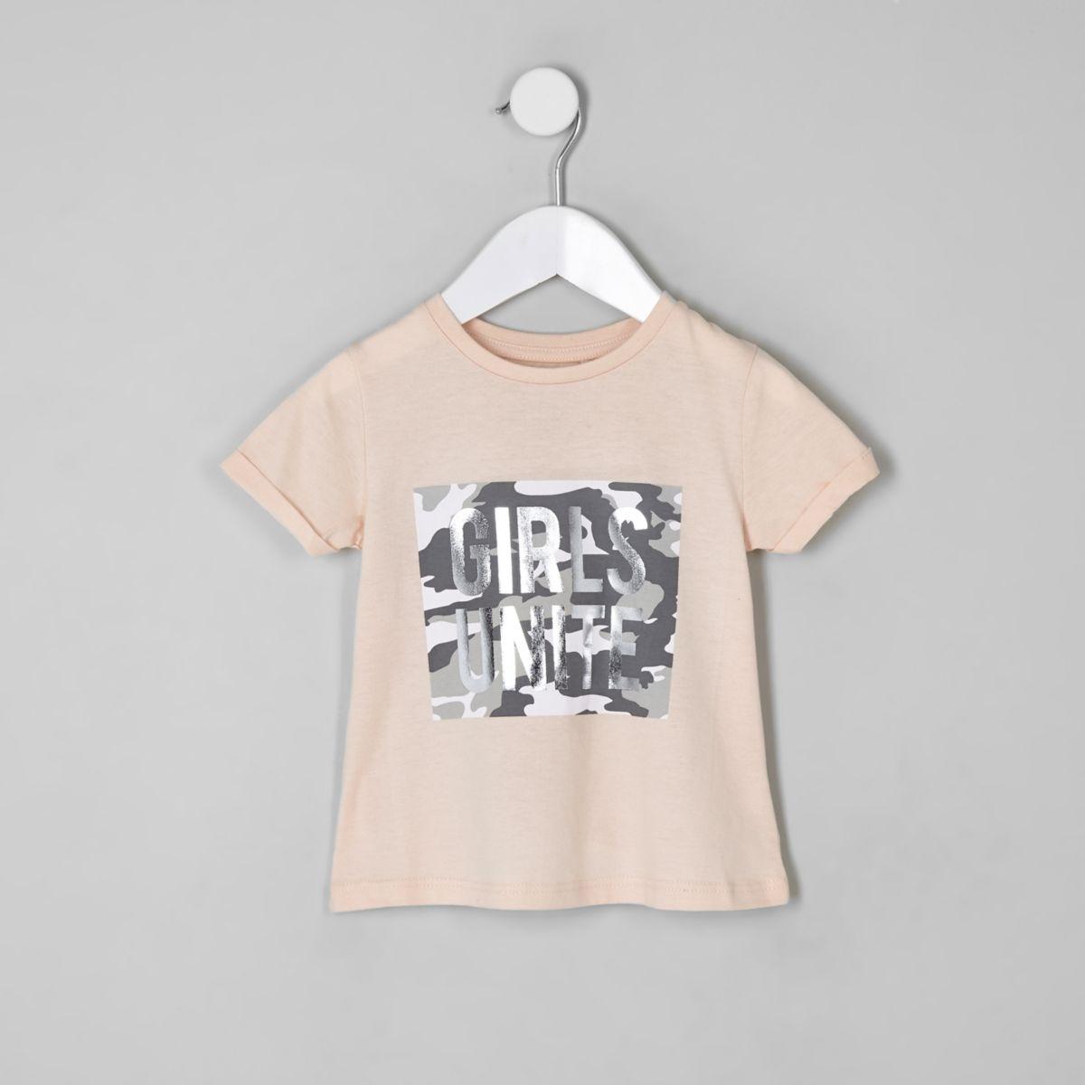 Mini girls pink camo front print T-shirt