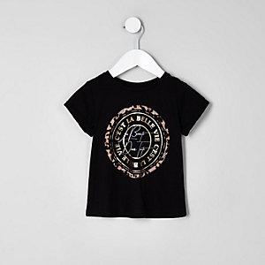 Mini - Zwarte 'beaute' top met luipaardprint voor meisjes