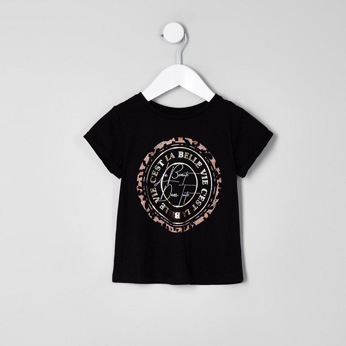 Mini girls black 'beaute' leopard print top