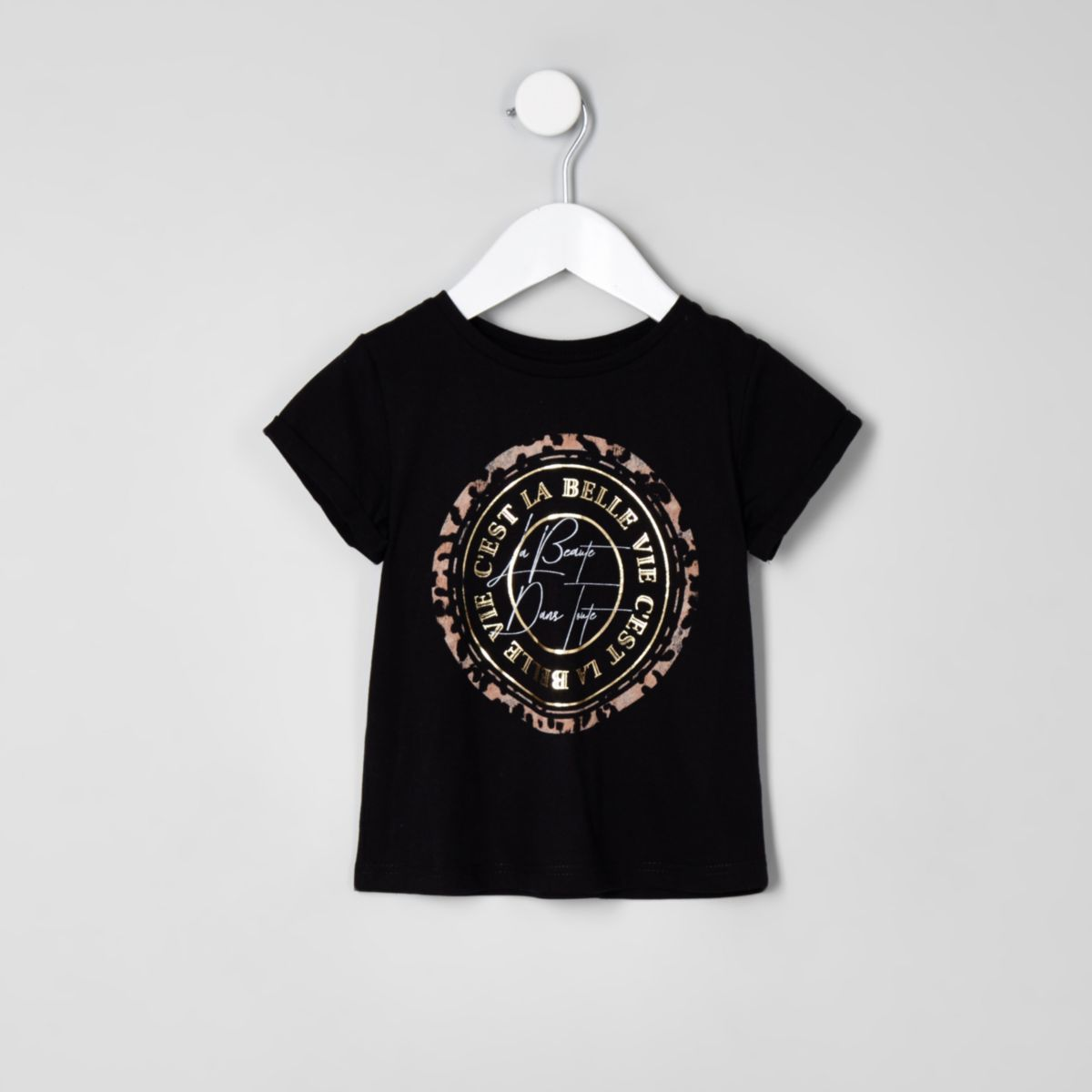Mini girls black 'beaute' leopard print top