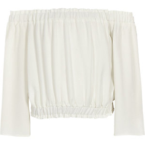 Girls white bardot flare sleeve cropped top