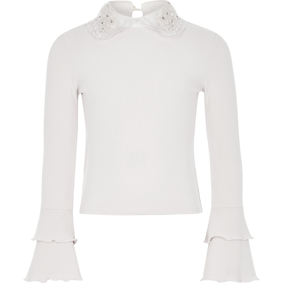 Girls cream embellished collar frill top