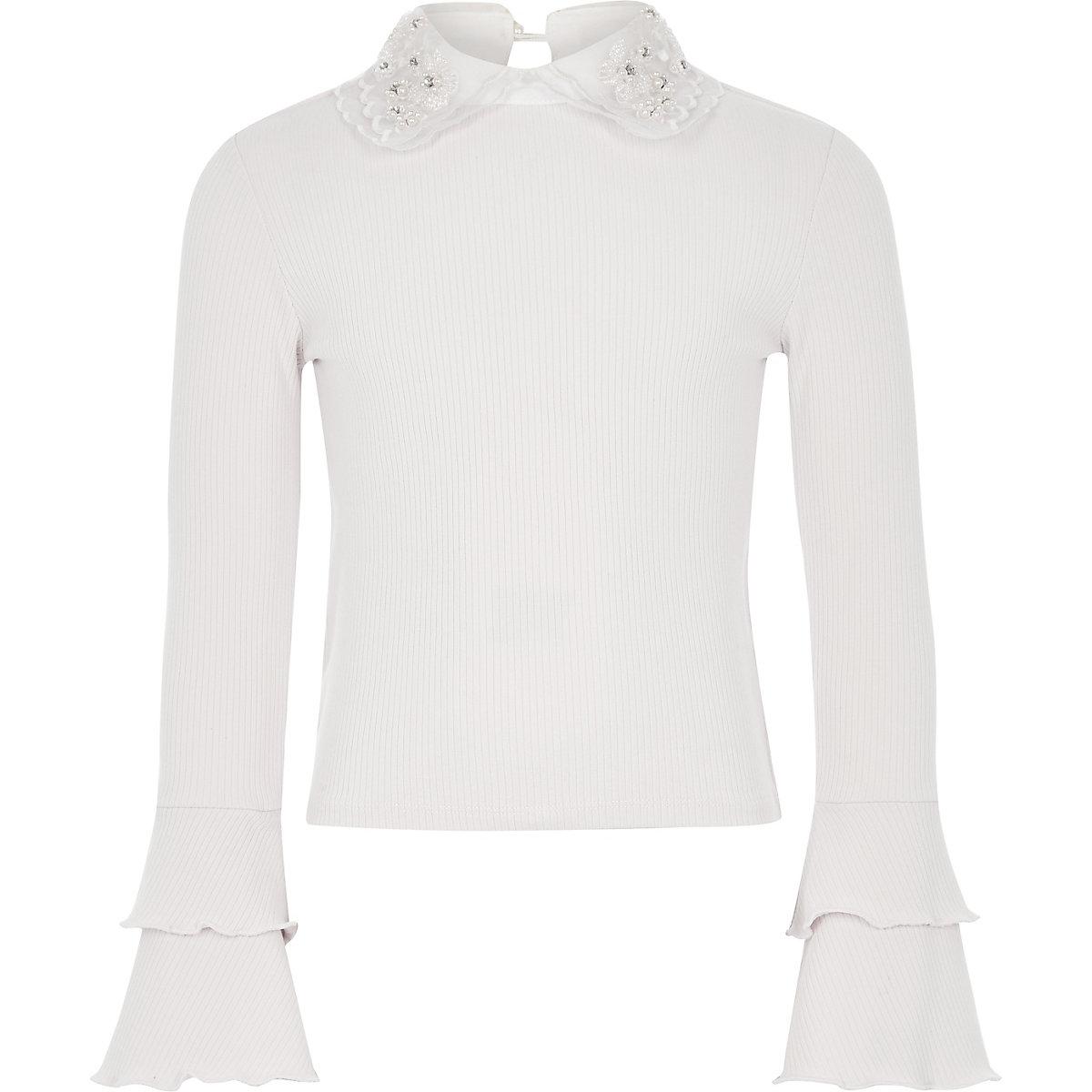 Girls cream embellished collar frill top