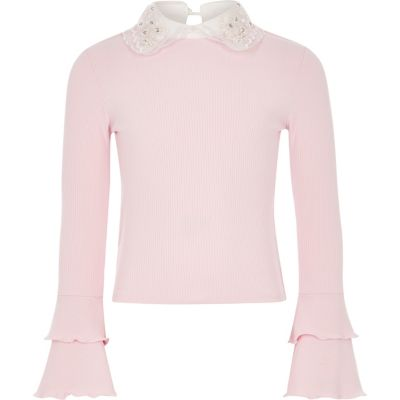 Girls Light Pink Embellished Collar Frill Top by River Island