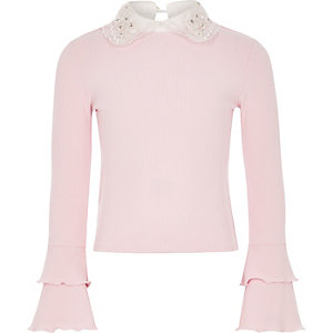 Girls light pink embellished collar frill top