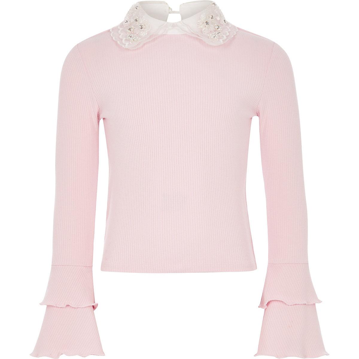 Girls light pink embellished collar frill top