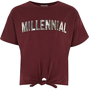 Girls dark red 'Millennial' tie front T-shirt