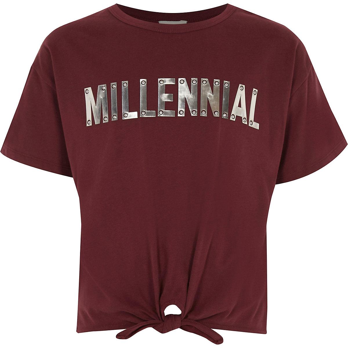 Girls dark red 'Millennial' tie front T-shirt