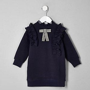 Robe pull bleu marine à volant et nœud mini fille