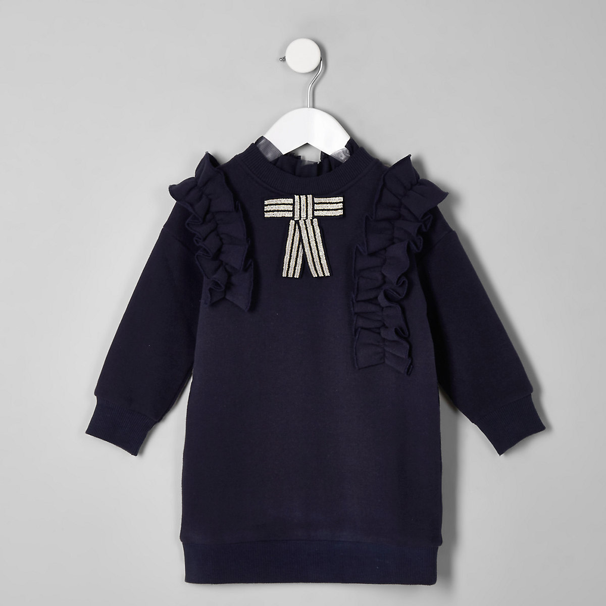 Mini girls navy bow ruffle sweater dress