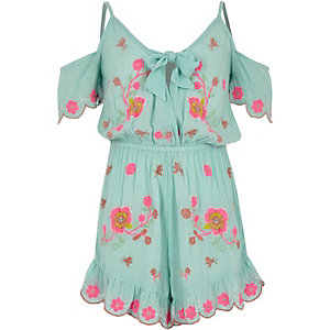 Girls blue floral embroidered beach romper