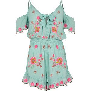 Combi-short de plage bleu avec broderie fleurie pour fille