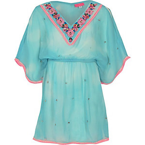 Girls light blue embellished kimono