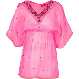 Kimono rose orné pour fille