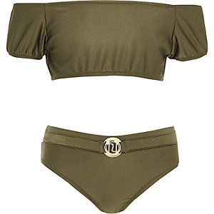 Girls khaki puff sleeve bardot tankini set