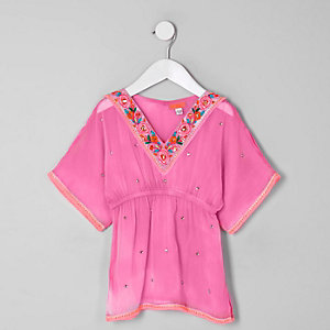 Mini girls pink embellished kimono