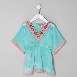 Mini girls light blue embellished kimono
