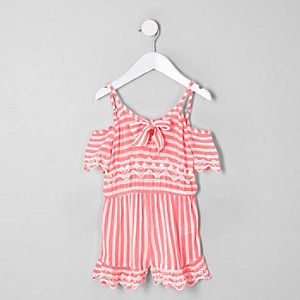 Mini girls pink stripe romper