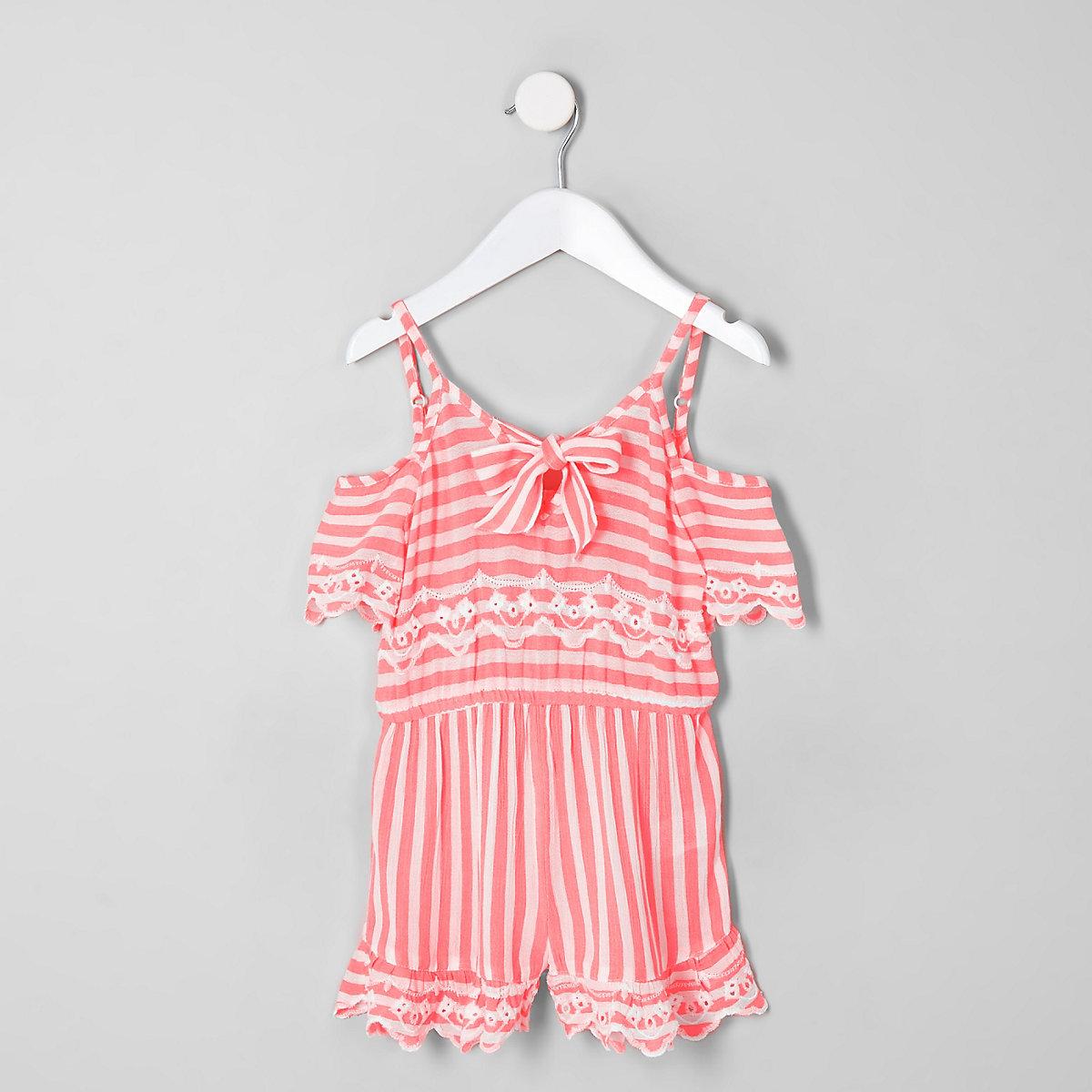 Mini girls pink stripe playsuit
