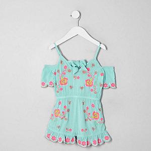 Combi-short bleu avec broderie fleurie pour mini fille