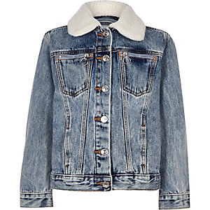 Kids blue Denim Jacket Borg Collar