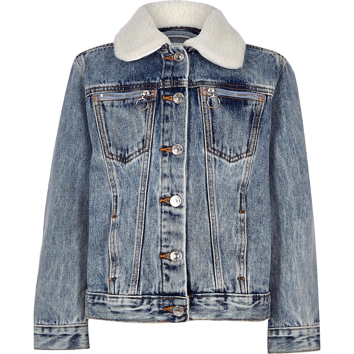 Kids blue Denim Jacket Fleece Collar