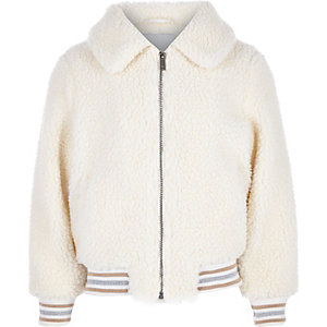 Girls cream borg bomber jacket