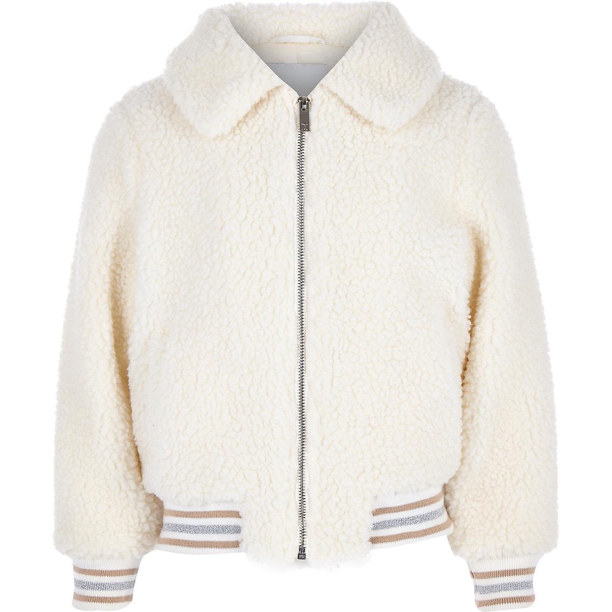 Girls cream fleece bomber jacket