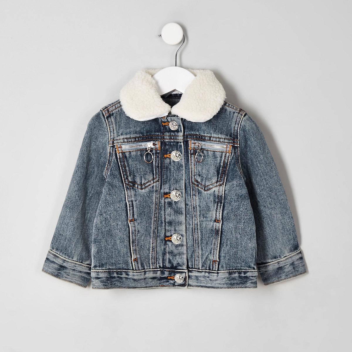 Mini kids denim fleece collar jacket
