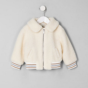 Mini girls cream fleece bomber jacket